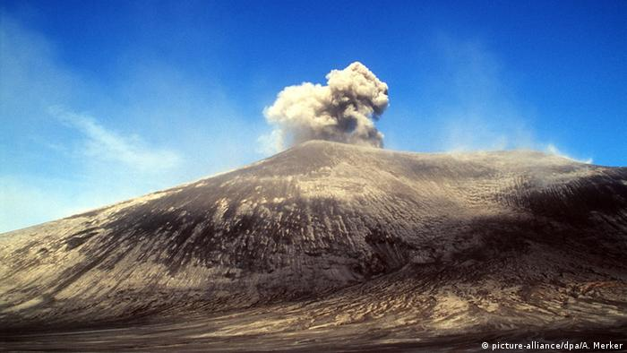 Vanuatu's Mount Yasur, an active volcano, spews smoke