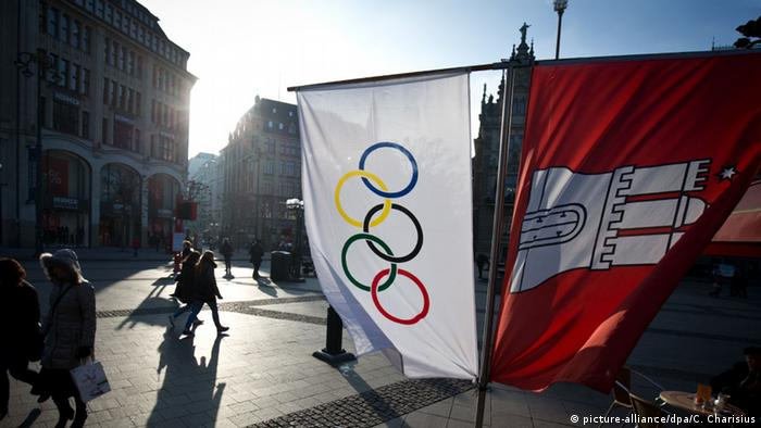 Olympic flag hangs in Hamburg