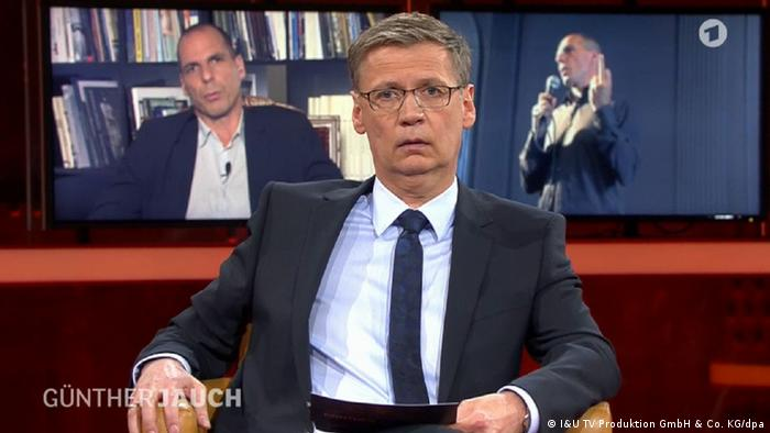 Günther Jauch in the ARD TV show featuring Yanis Varoufakis, Copyright: I&U TV Produktion GmbH & Co. KG/dpa