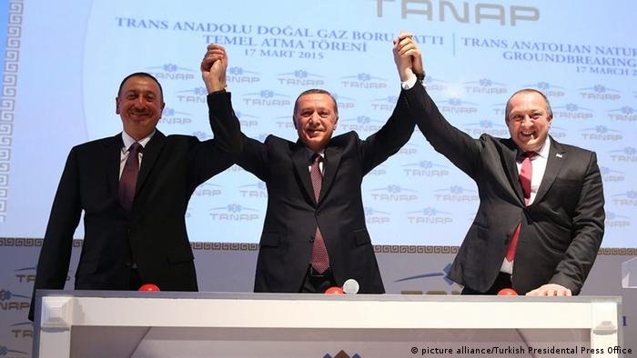 Erdogan und die Präsidenten von Aserbaidschan und Georgien