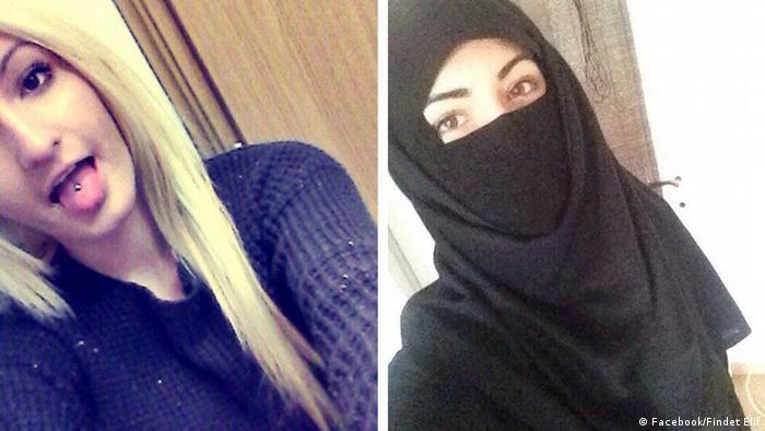 دو تصویر از الیف او. پیش و پس از گرایش اسلامی او