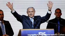 ATTENTION EDITORS - REUTERS PICTURE HIGHLIGHT TRANSMITTED BY 0008 GMT ON MARCH 18, 2015 JER149 Israeli Prime Minister Benjamin Netanyahu waves to supporters at the party headquarters in Tel Aviv March 18, 2015. REUTERS/Amir Cohen (ISRAEL - Tags: POLITICS ELECTIONS) REUTERS NEWS PICTURES HAS NOW MADE IT EASIER TO FIND THE BEST PHOTOS FROM THE MOST IMPORTANT STORIES AND TOP STANDALONES EACH DAY. Search for TPX in the IPTC Supplemental Category field or IMAGES OF THE DAY in the Caption field and you will find a selection of 80-100 of our daily Top Pictures. REUTERS NEWS PICTURES. TEMPLATE OUT