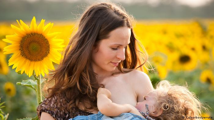 Breastfeeding mother in a field of sunflowers (Colourbox/yarruta)