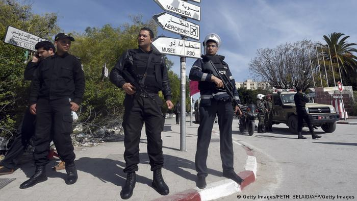 Tunisian security forces stand guard near the National Bardo Museum in Tunis on March 19, 2015, on the aftermath of an attack on foreign tourists (Photo: FETHI BELAID/AFP/Getty Images)