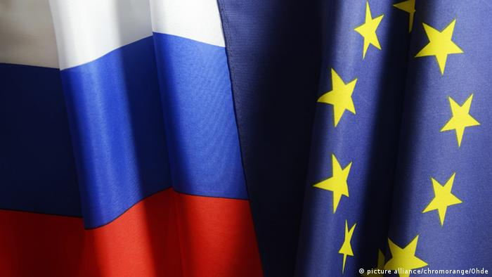 EU and Russian flags