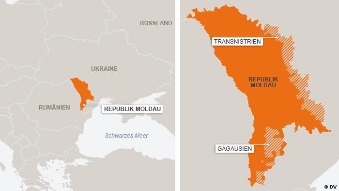 Karte Moldawien Regionen Transnistrien und Gagausien (Foto: DW)