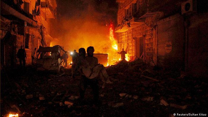 Syrien Aleppo Ruine Feuer Opfer Bürgerkrieg