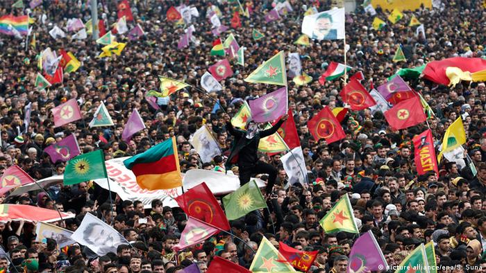 Supporters of Kurdistan Workers' Party (PKK ) gather during a rally as part of Nowruz, or Kurdish New Year, celebrations in Diyarbakir, Turkey, 21 March 2015. EPA/SEDAT SUNA