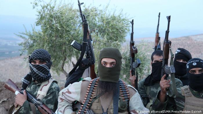 Islamic State militants on the front line in Syria