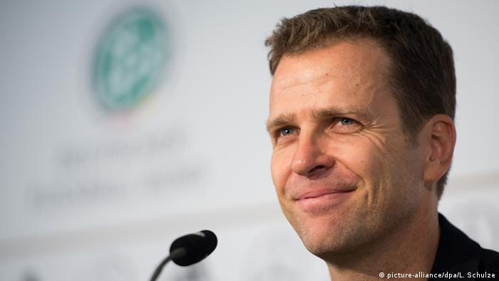Oliver Bierhoff at a press conference in Frankfurt