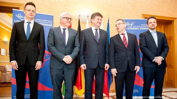Hungarian Foreign Minister Peter Szijjarto, German Foreign Minister Frank-Walter Steinmeier, Slovakian Foreign Minister Miroslac Lajcak, Czech Foreign Minister Lubomír Zaoralek and State Secretary of the Polish Foreign Ministry Rafa Trzaskowski (L-R) pose for the family photo as foreign ministers of the Visegrad Four countries meet Steinmeier in Bratislava 23 March 2015.