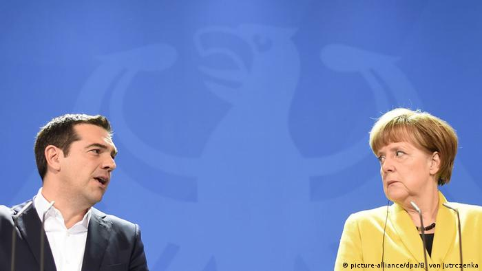 German Chancellor Merkel with Greek Prime Minister Tsipras in Berlin
