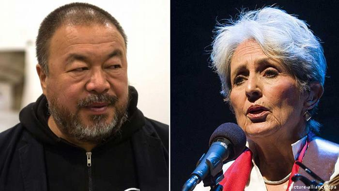 A combination image showing portraits of Ai Weiwei und Joan Baez