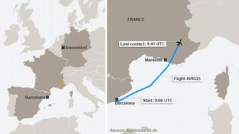 Karte Absturz Germanwings Flug 4U9525 Englisch