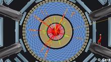 Diese Simultionen von theoretischen Physikern zeigen, wie die Teilchenspuren aussehen wenn winzig kleine Schwarze Löcher im Detektor entstehen. Copyright: Cern