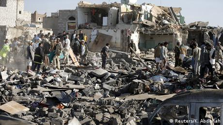 Jemen Zerstörung in Sanaa nach dem Luftangriff