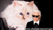 Deutschland Mode Karl Lagerfeld und Katze Choupette