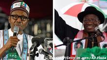 Nigeria - nominierter Präsidentschaftskandidat Muhammadu Buhari und Goodluck Jonathan