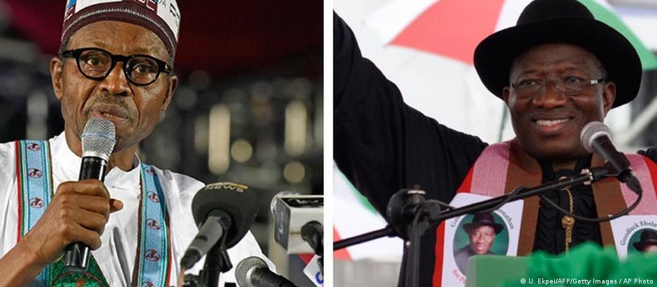 Eleição é também disputa religiosa: muçulmano Muhammadu Buhari (esq.) contra o cristão Jonathan Goodluck