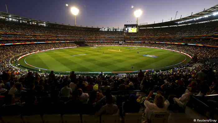 The MCG ground lit up at night for the Cricket World Cup final