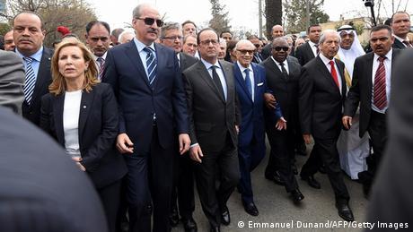 Tunesien Protestmarsch gegen Extremismus - Beji Caid Essebsi & Francois Hollande