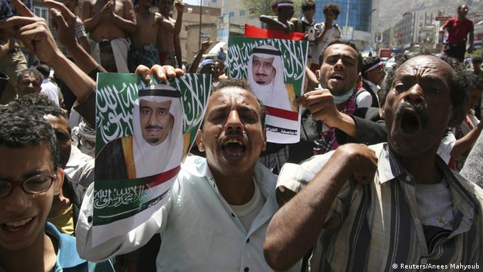 Anti-Houthi protesters hold posters of Saudi King Salman bin Abdulaziz al-Saud during a demonstration to show support for Saudi-led air strikes on Yemen, in the country's southwestern city of Taiz March 29, 2015 (Photo: REUTERS/Anees Mahyoub)