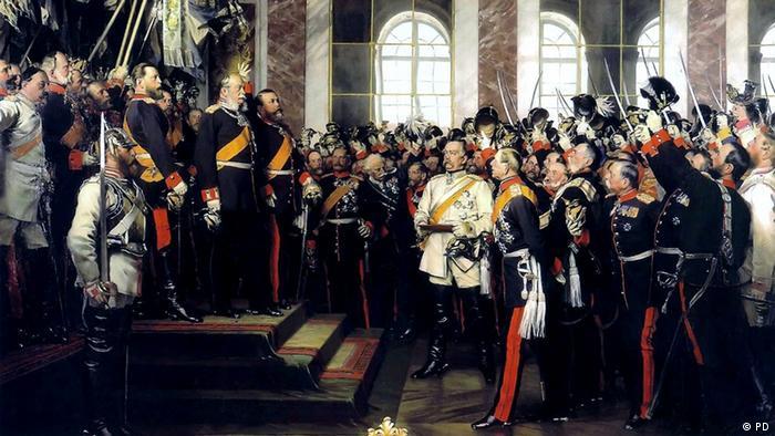 Proclamação do Império Alemão, óleo de Anton von Werner, 1885