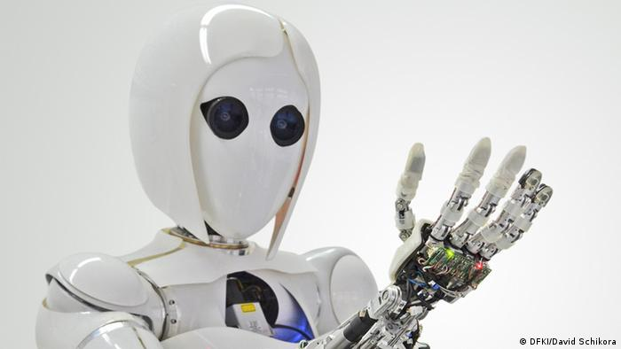 DFKI Robot Aila looks at her hand