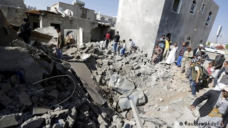 Jemen Zerstörung nach Luftschlag