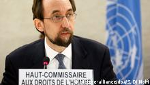 01.04.2015 *** epa04688479 UN High Commissioner for Human Rights Prince Zeid Ra'ad al Hussein speaks during the 23rd special session of the Human Rights Council on Boko Haram, at the European headquarters of the United Nations in Geneva, Switzerland, 01 April 2015. EPA/SALVATORE DI NOLFI +++(c) dpa - Bildfunk+++