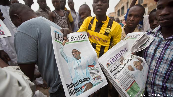 Newspapers showing the 2015 election result in Abuja