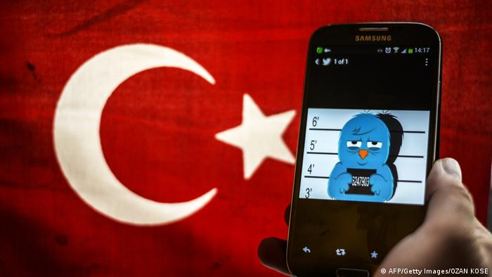 A picture representing a mugshot of the twitter bird is seen on a smart phone with a Turkish flag on March 26, 2014 in Istanbul (photo: OZAN KOSE/AFP/Getty Images)