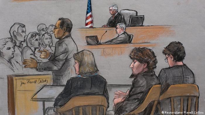 تصویری از دادگاه جوهر سارنایف، بوستون ششم آوریل ۲۰۱۵