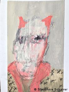 A work of artist Stefanie Schairer, it shows a white face on a gray background with pink dress and hair, Copyright: Stefanie Schairer