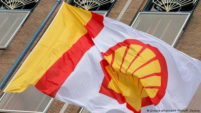 A flag bearing the company logo of Royal Dutch Shell