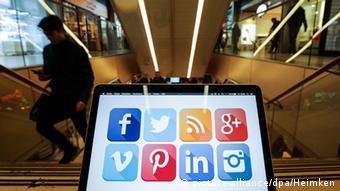 Social network logoson a laptop