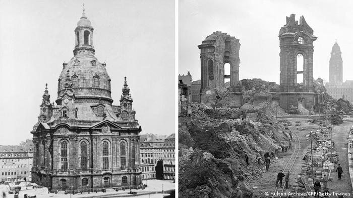 Зруйнована Фрауенкірхе - один із символів бомбардувань Дрездена