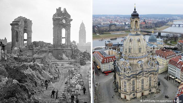 کلیسای زنان (Frauenkirche) پس از جنگ جهانی دوم (چپ) و پس از بازسازی