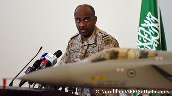 Brigadier General Ahmed Asiri speaks during a press conference.