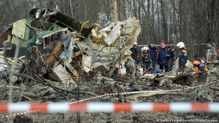 Blick auf die Unglücksstelle des Flugzeugabsturzes bei Smolensk