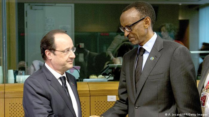 Former French President Francios Hollande meets with Rwandan President Paul Kagame