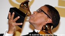 Herbie Hancock poses with his award during the 53nd annual Grammy Awards in Los Angeles, California on February 13, 2011. AFP PHOTO / GABRIEL BOUYS (Photo credit should read GABRIEL BOUYS/AFP/Getty Images)