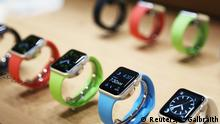 Apple watches are displayed following an Apple event in San Francisco, California in this March 9, 2015 file photo. About 40 percent of adult Apple iPhone owners in the United States are interested in buying the company's new Apple Watch, according to a new Reuters/Ipsos poll. REUTERS/Robert Galbraith/Files (UNITED STATES - Tags: SCIENCE TECHNOLOGY BUSINESS)
