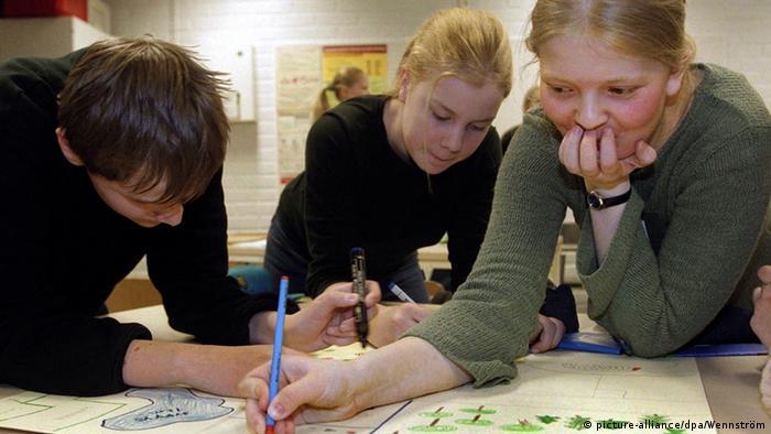 Aula em escola na Finlândia