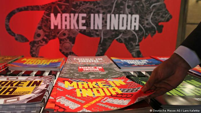 Logo of the make in India on leaflets distributed during the Hannover Trade Fair in Hanover, Germany