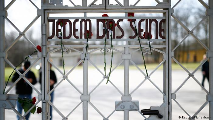 The slogan 'Jedem das Seine' meaning 'To each his own' is pictured at the internal side of the main gate of former Buchenwald concentration camp