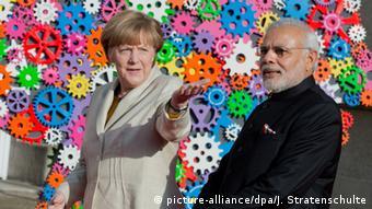 Канцлерка Анґела Меркель з почесним гостем ярмарку - головою уряду Індії Нарендрою Моді