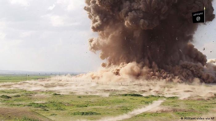 An ISIS propaganda video showing destruction of Nimrud in 2015 (Militant video via AP)