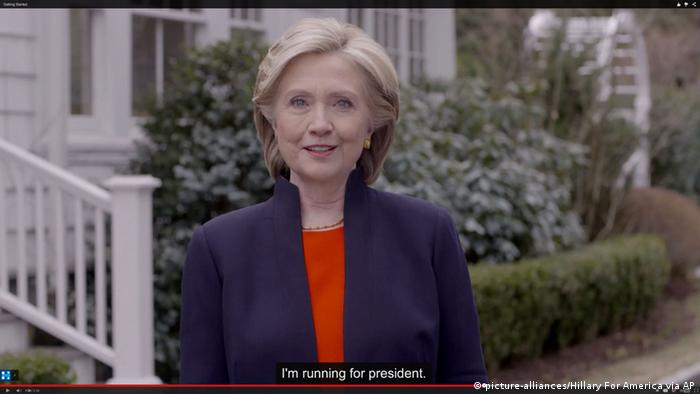 Hillary Rodham Clinton announced her candidacy for the US presidency on Sunday