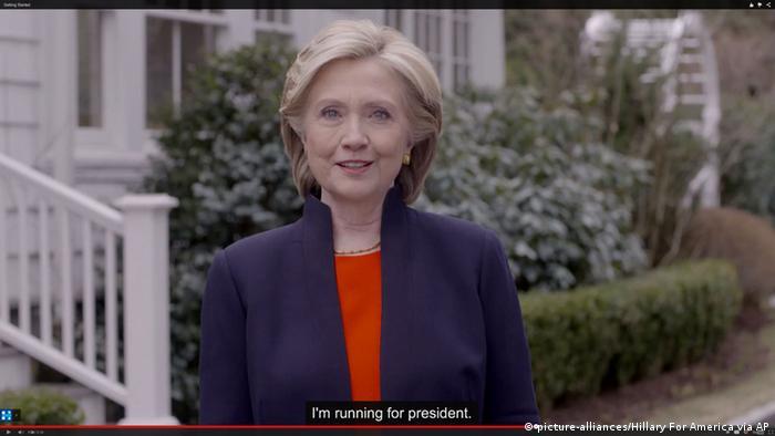 Hillary Rodham Clinton Video Verkündigung Kandidatur Präsidentin